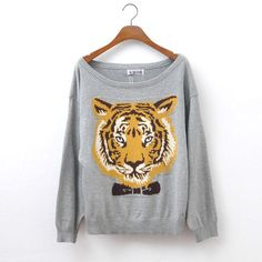 Nice Gray Tiger Head Sleeve Sweater&Cardigan 6NU94UEL9JSFG6KVT4V2L on Luulla