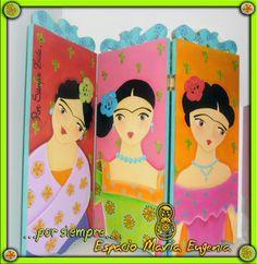 Biombo pequeño de madera pintado a mano - Inspirados en Frida Kahlo - Espacio María Eugenia