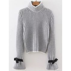 SheIn(sheinside) Grey Turtle Neck Bow Embellished Bell Sleeve Sweater (€21) ❤ liked on Polyvore featuring tops, sweaters, grey, long sleeve turtleneck, pullover sweater, ribbed turtleneck sweater, grey sweater and ribbed sweater