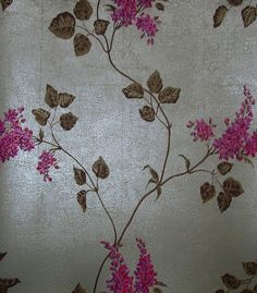 Lilac Wallpaper Climbing lilac design in fuschia and red on a metallic silver crackle background