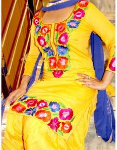 Attract everyone with your stunning look when you adorn this Entice Yellow Punjabi Suit. Embellished with heavy embroidery work & Lace work on Top & Dupatta. Available with matching bottom & dupatta. For more details whatsapp us: +919915178418