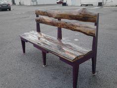 Log Bench. Walnut Back And White Oak Seat.