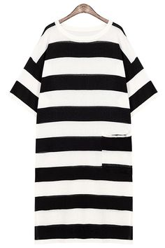 Striped One Pocket All-Match Sweater Dress