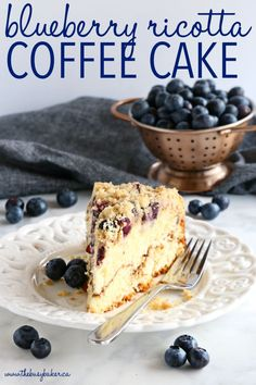 This Best Ever Blueberry Ricotta Coffee Cake is the perfect moist and fluffy coffee cake made with low fat ricotta, and packed with fresh blueberries, cinnamon sugar, and the best crispy streusel topping! Recipe from thebusybaker.ca! #bestcoffeecake #easycoffeecake #blueberrycake