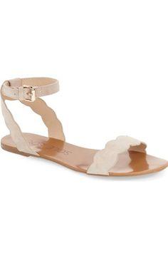 Sole Society // 'Odette' Scalloped Ankle Strap Flat Sandal