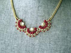 Beadwoven Red & Gold Necklcae  Beadweaving  by PeridotFalcon, $55.00