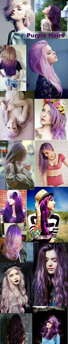 Purple hair, Black Purple Hair, Blonde Purple Hair, Gray purple Hair,Lavender purple Hair style, purple hair dye, pastel hair, hair color, dark purple, red purple. Purple ombre hair with color pink and blue. More inspirations on purple hair dye~