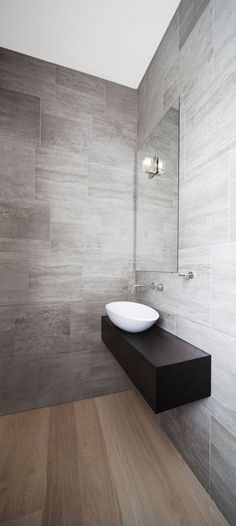 Bathroom Inspiration ~ Exquisite Grey Bathrooms Fixtures And Fittings Design: Fabulous Single White Bowl Sink On Dark Wooden Floating Vanity Added Wall Mount Faucet On Grey Granite Wall Tiles In Small Space Grey Bathrooms Ideas Bathroom Tile Designs, Wood Bathroom, Grey Bathrooms, White Bathroom, Bathroom Interior, Modern Bathroom, Small Bathroom, Bathroom Ideas, Minimalist Bathroom