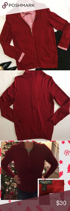 """Talbots zip up Cable Knit Sweater/Cardigan Pretty darker red(pic 2)cable knit sweater with gold zipper. Perfect for pictures this Christmas or for work or casually with jeans can't go wrong 💕 the seam at hem that usually covers bottom of zipper is coming apart a little (see pic 4) and there's a a little piling and a couple snags under each arm (in armpit area see pic 4)also zipper can have a tendency to stick but doesn't get stuck....Size Large it measures 21"""" across chest and 27"""" long…"""