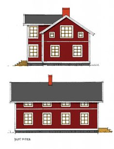 Ritningar mot öster och norr Stair Landing, House Floor Plans, Country Style, Tiny House, Beautiful Homes, Villa, New Homes, How To Plan, Mansions