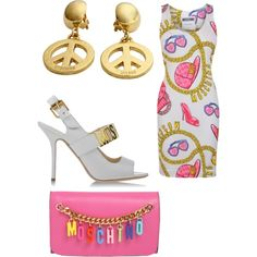 A fashion look from March 2015 featuring Moschino dresses, Moschino sandals and Moschino clutches. Browse and shop related looks.