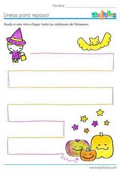 Ficha #infantil coloreable con trazos de Halloween.  Descarga la ficha en blanco aquí: http://www.edufichas.com/actividades/grafomotricidad/trazos-de-halloween-para-3-anos/