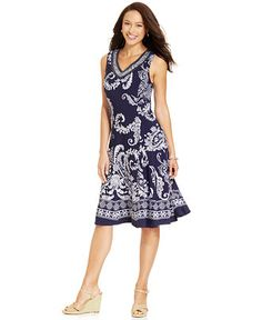 JM Collection Paisley-Printed Embellished Dress - Dresses - Women - Macy's