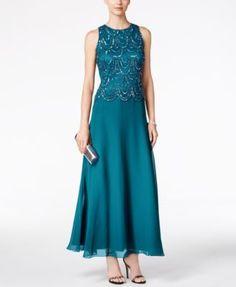 J Kara Embellished Scalloped A-Line Gown - Dresses - Women - Macy's