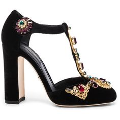 Dolce & Gabbana Jewel Embellished Velvet T Strap Heels (€875) ❤ liked on Polyvore featuring shoes, pumps, heels, sapatos, zapatos, ankle strap high heel pumps, embellished heel pumps, embellished shoes, heel pump and embellished heel shoes