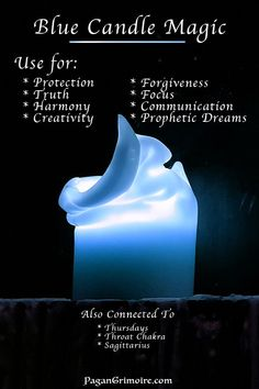 Blue Candle Magic - What Do Blue Candles Mean? Doing a little candle magic? Discover the blue candle's meaning and the best time to burn it. Spells For Beginners, Witchcraft For Beginners, Candle Magic, Candle Spells, Blue Candle Meaning, Wiccan Spell Book, Spell Books, Wiccan Spells, Color Meanings