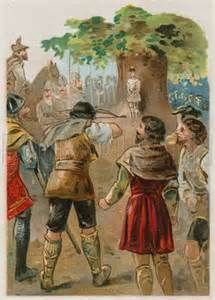 William Tell shooting an apple on his son's head.