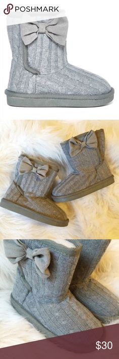 Sweater bow boots Adorable and trendy booties perfect for your lil fashionista. Cute bow accent, and soft fluffy lining for a warm and cosy wear.  Hard sole, cute sweater design, both Velcro closure. New in box Shoes Boots