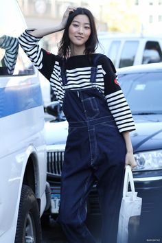 rad overalls. #JiHyePark #offduty in NYC.