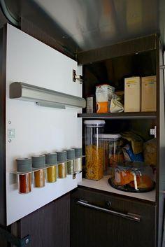 Upper pantry with IKEA spice rack & IKEA foil dispenser