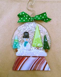 Fused Glass Snow Globe Ornament by Artglassbystraub on Etsy
