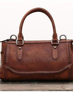 Genuine Handmade Boston Bag Vintage Leather Rivet Biker Handbag Shoulder Bag  Women Leather Purse 1f116cfd3d68c
