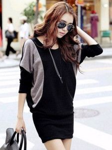 Modern Black Two-Tone Crewneck Cotton Blend Oversized Women s Knitted Dress f2279c253