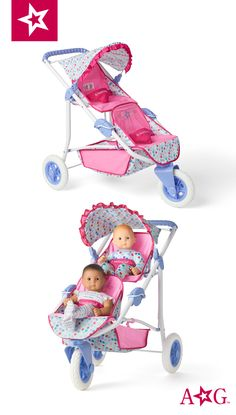 Take American Girl Bitty Baby and a friend for a walk in this doll double stroller. Double Strollers, Baby Strollers, Girl Dolls, Barbie Dolls, Sailor Moon Merchandise, Barbie Doll Accessories, 10 Birthday, Baby Alive, Bitty Baby