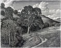 Loscombe by Howard Phipps, wood engraving
