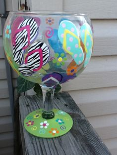 Fun flip flop 60 ounce wine glass by TheUniqueMiniBoutiqu on Etsy