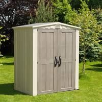 Shop for Keter Factor Large 6 x 3 ft. Resin Outdoor Backyard Garden Storage Shed. Get free delivery On EVERYTHING* Overstock - Your Online Home Improvement Shop! Get in rewards with Club O! Garden Storage Shed, Outdoor Storage Sheds, Storage Shed Plans, Storage Ideas, Beige, Taupe, Resin Sheds, Plastic Sheds, Yard Tools
