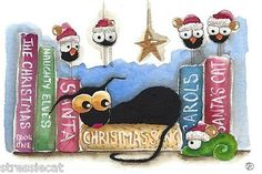Original Watercolor Painting Whimsical Black Cat Bird Crow Christmas Shelf Book | eBay