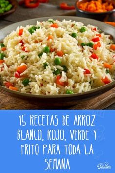 15 recetas de arroz blanco, rojo, verde y chino para toda la semana Quiches, Veggie Recipes, Healthy Recipes, Deli Food, Latin Food, Fried Rice, Food And Drink, Veggies, Menu