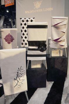 Chair covers - WFL Black and White Mod Retro Chair Sleeves Chair Back Covers, Chair Backs, Wedding Chair Decorations, Wedding Chairs, Chair Cover Rentals, Party Chairs, Table Top Design, Chair Sashes, Slipcovers For Chairs