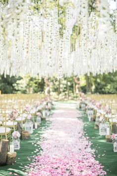 Hanging Flower Chain Wedding Ceremony Decor And Ombre Petal Aisle Wisteria