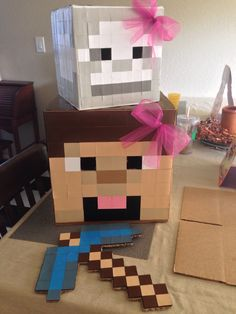 Minecraft Skeleton and Minecraft Steve Halloween costumes for my girls with a diamond pickaxe