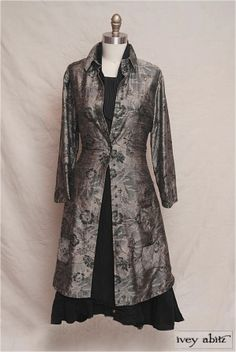 Phinneus Coat Dress in Foggy Floral Washed Silk. - Fall 2013 Look No. 5 by Ivey Abitz.