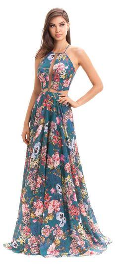 Spaghetti Strap Hollow Out Printed Maxi Dress Dresses Elegant, Beautiful Dresses, Casual Dresses, Fashion Dresses, Prom Dresses, Summer Dresses, Formal Dresses, Dress Skirt, Dress Up