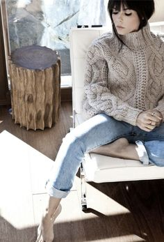 aran and cable  fisherman hand knit sweater