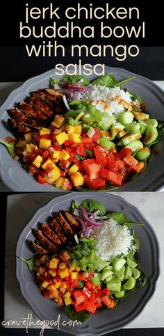 Jerk Chicken Buddha Bowl with Mango Salsa A perfect mix of spicy and sweet this nutritious jerk chicken buddha bowl will grace your summer menu over over gluten free da. Diet Recipes, Chicken Recipes, Cooking Recipes, Healthy Recipes, Eat Clean Recipes, Recipies, Juicer Recipes, Healthy Breakfasts, Recipes
