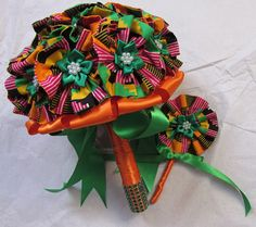 African Kente print fabric wedding bouquet and by ChicAfrica
