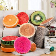 2017 new product Creative 3D Fruits Cute Decorative pillows Cushions home decor Round(China)