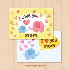 Watercolor greeting card with elephants for mother's day Free Vector