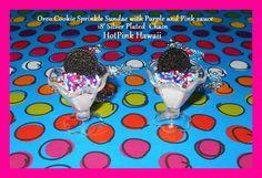 RARE OREO BF Large Ice cream Sundae Sprinkles Kawaii Necklace*USA*SILVER PLATED #HANDMADE