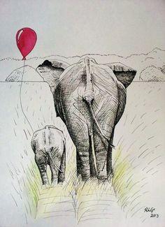 Elephant Balloon, Ink & Watercolour, prints available, follow link