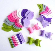 Items similar to Felt bows for headbands, felt shapes for diy projects, bows in purple and pink tones, felt embellishments for hair clips on Etsy Diy Headband, Baby Headbands, Felt Flowers, Fabric Flowers, Fabric Flower Headbands, Paper Flowers, Felt Crafts, Diy And Crafts, Deco Cinema