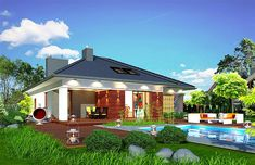 Projekt Domidea 2 d ps 119,87 m2 - koszt budowy - EXTRADOM Home Fashion, Bungalow, Ps, Gazebo, Outdoor Structures, Mansions, House Styles, Home Decor, Projects