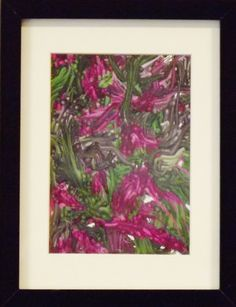 A digitally created design encased in a black frame, 21cm x 27cm. For sale at www.art-style-gallery@co.uk.