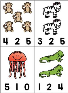 Math Activity: Count and Clip Animals Letter Worksheets For Preschool, Preschool Coloring Pages, Numbers Preschool, Kindergarten Math Worksheets, Preschool Learning Activities, Learning Numbers, Preschool Kindergarten, Math For Kids, Task Cards