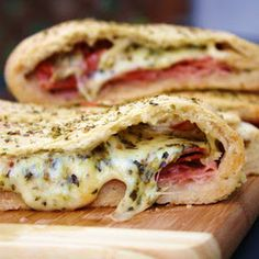 Stromboli with homemade dough and yummy italian meats and cheeses!